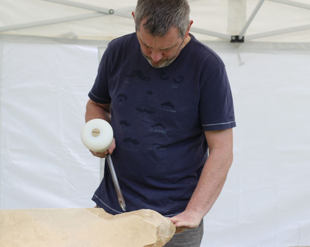 Concentration during stone carving