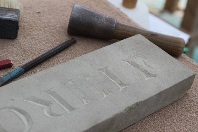 Letter cutting in stone during the Stone carving Course in Lastingham