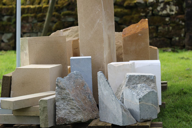 Selection of stone ready for the Stone Carving Course