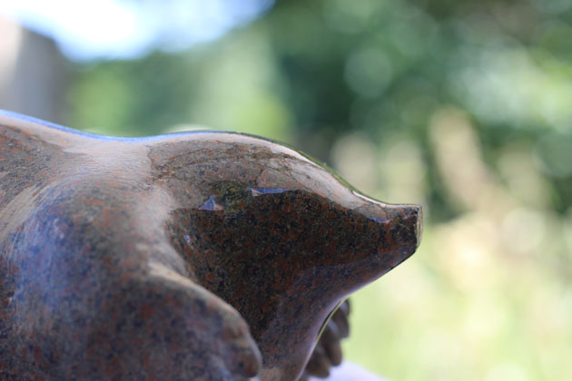 sanding and polishing my mole sculpture