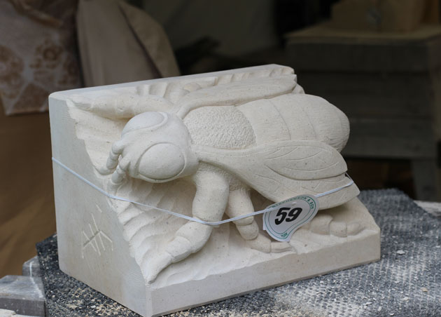 Stone carving ready for auction at York Minster Stone Carving Festival 2018