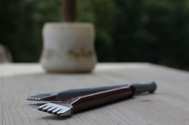 stone carving chisels and mallet