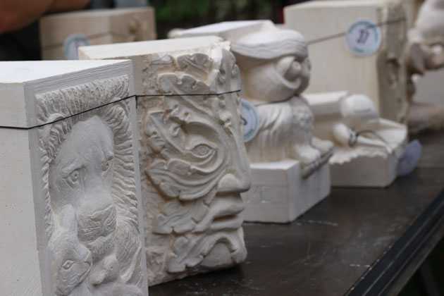 Stone carvings ready for auction at York Minster Stone Carving Festival 2018