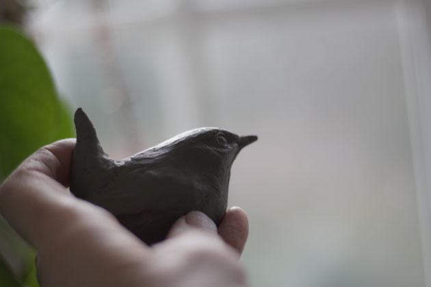 Modelling a Wren in clay