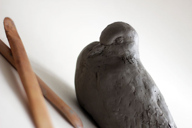 clay model for Turtle Dove sculpture