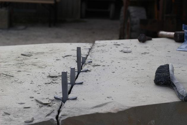 stone block cracks in two
