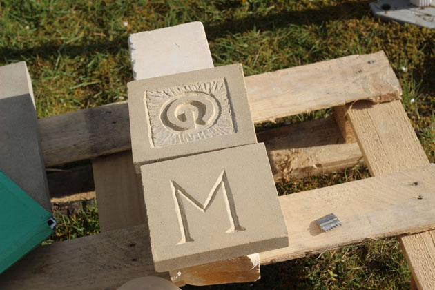 Incised and Relief carved letters