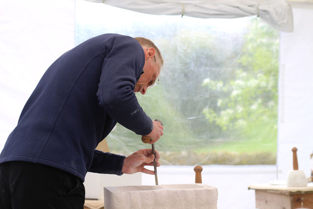 concentrating on stone carving