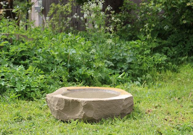 Natural stone birdbath