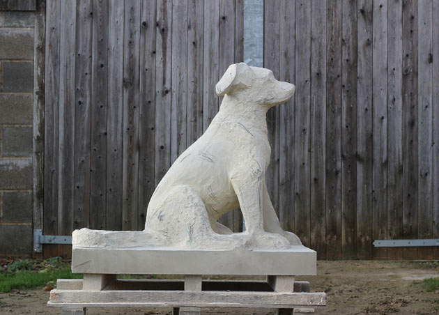 Dog sculpture work in progress