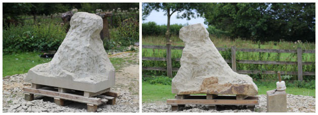 Carving stages of dog sculpture