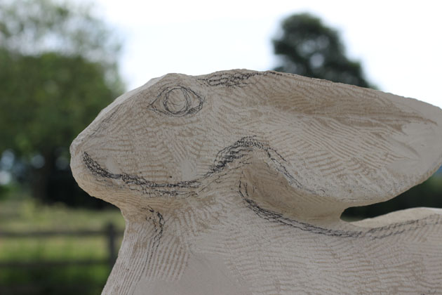 Carving the head of my Hare sculpture