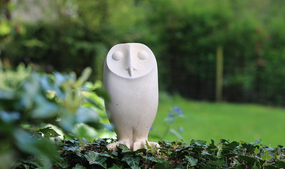 Owl sculpture in the garden
