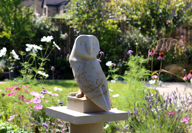 Barn Owl sculpture in the garden