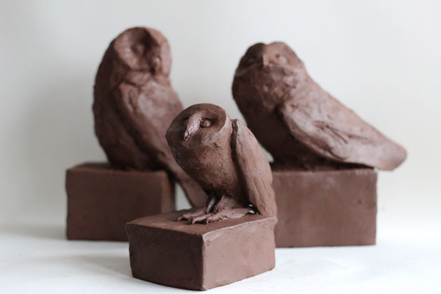 Clay models of owls