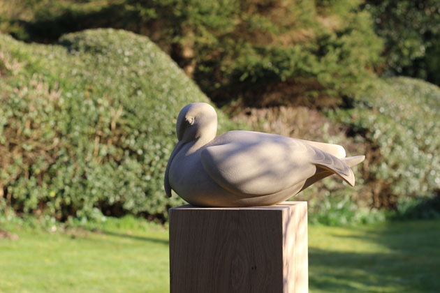 Whimbrel stone sculpture