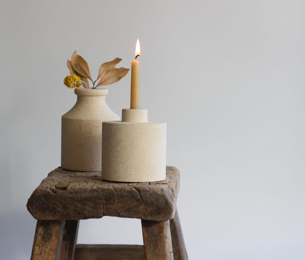 Candlestick in stone