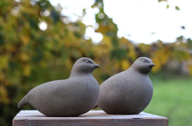 Partridge stone sculpture