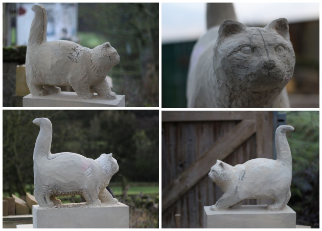 Carving stages of cat sculpture