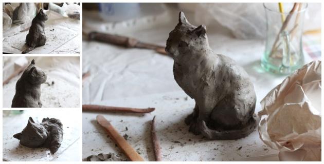 clay models for cat sculpture