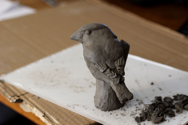 Clay model for Hawfinch sculpture