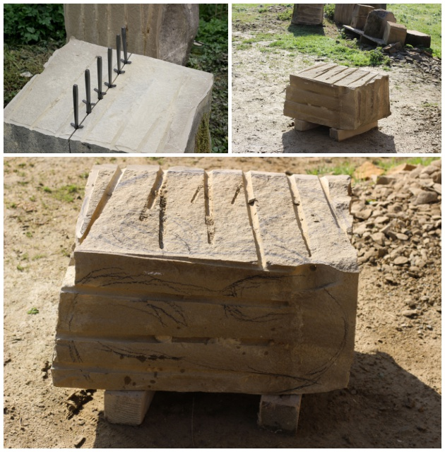 preparing the stone for otter sculpture