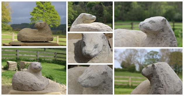 stages of carving an otter in stone